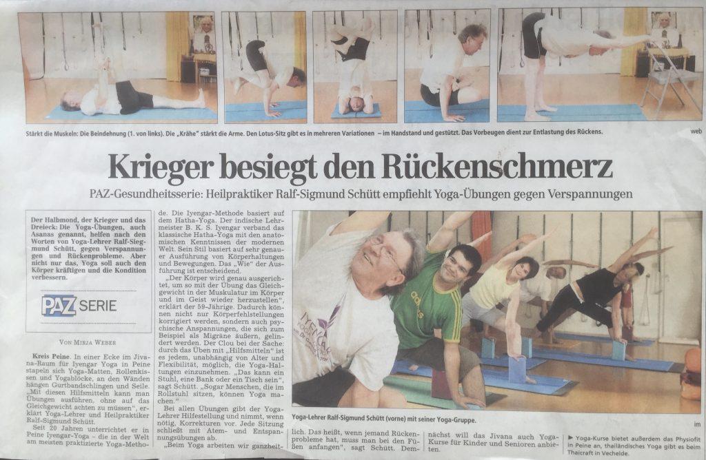 Yoga gegen Rückenschmerzen, Bericht der PAZ